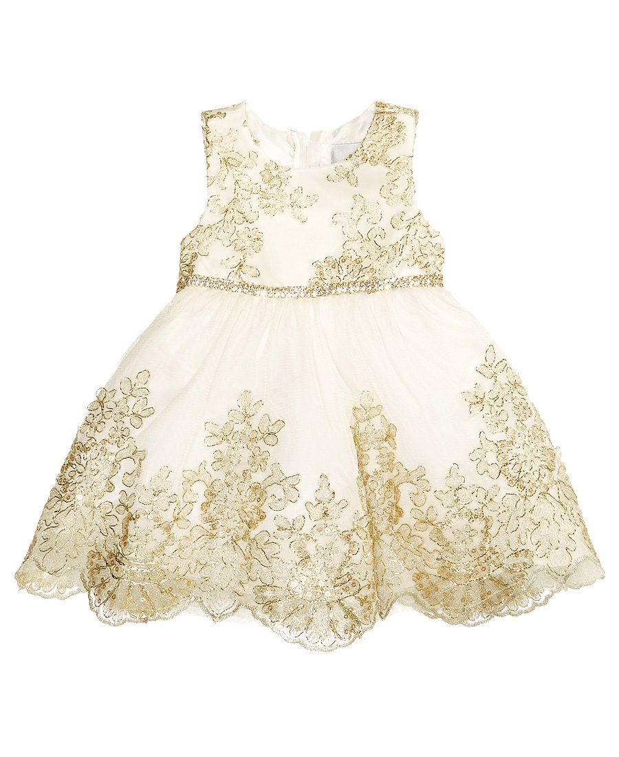 629dd0517 Rare Editions Sister Ivory   Gold Embroidered Dress