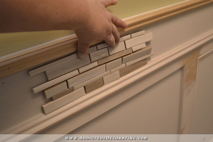 Recessed Panel Wainscoting With Tile Accent Part 1 Diy