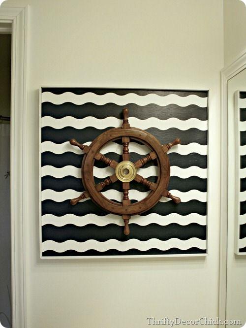 Going Nautical in the bathroom #DIY #art #nauticaltheme