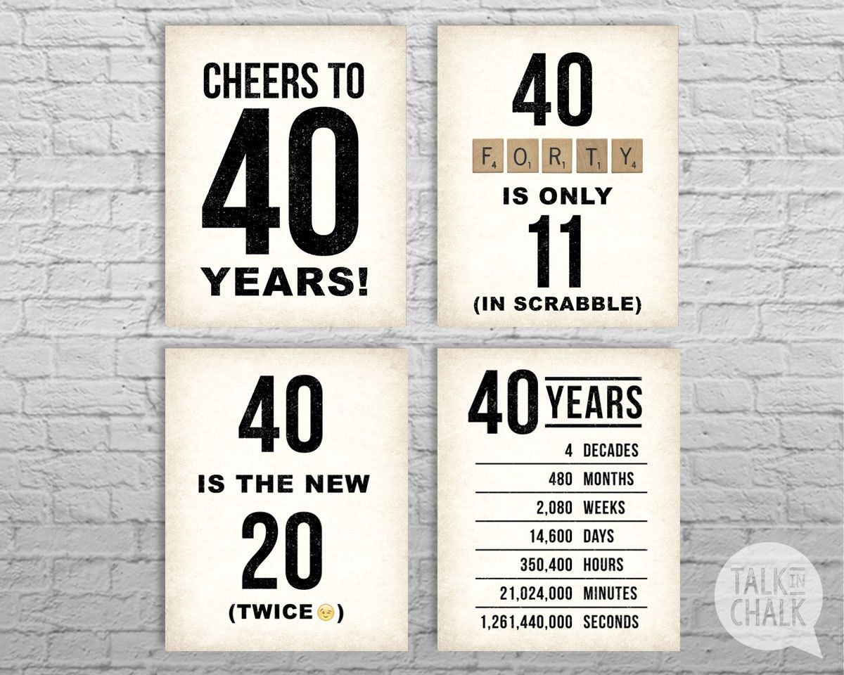 40th birthday printable sign pack 40th birthday by for 40th birthday decoration packs