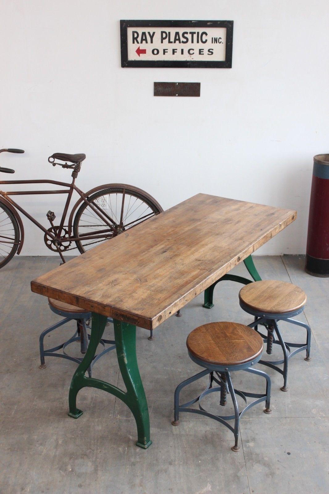 Vintage Antique Industrial 5\' Dining Table Desk Cast Iron Legs ...