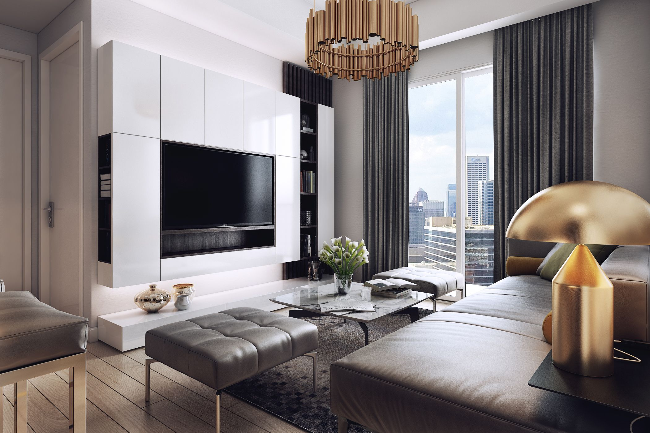 Luxurious apartment with dark interiors and stunning lighting see more http