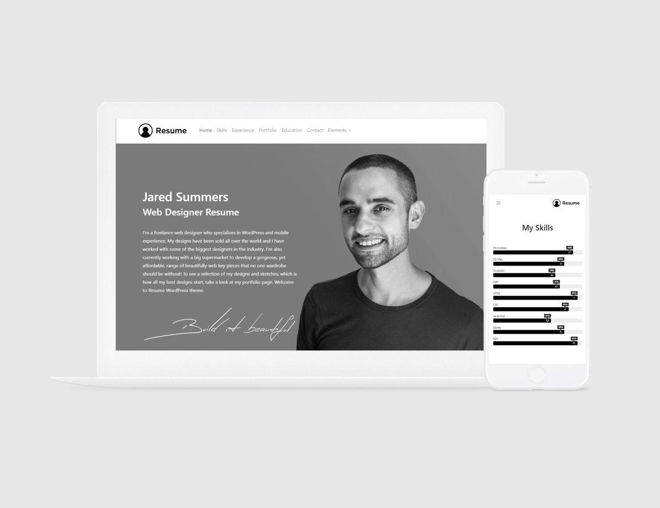 Resume WordPress Theme Responsive CV Template by em 2020