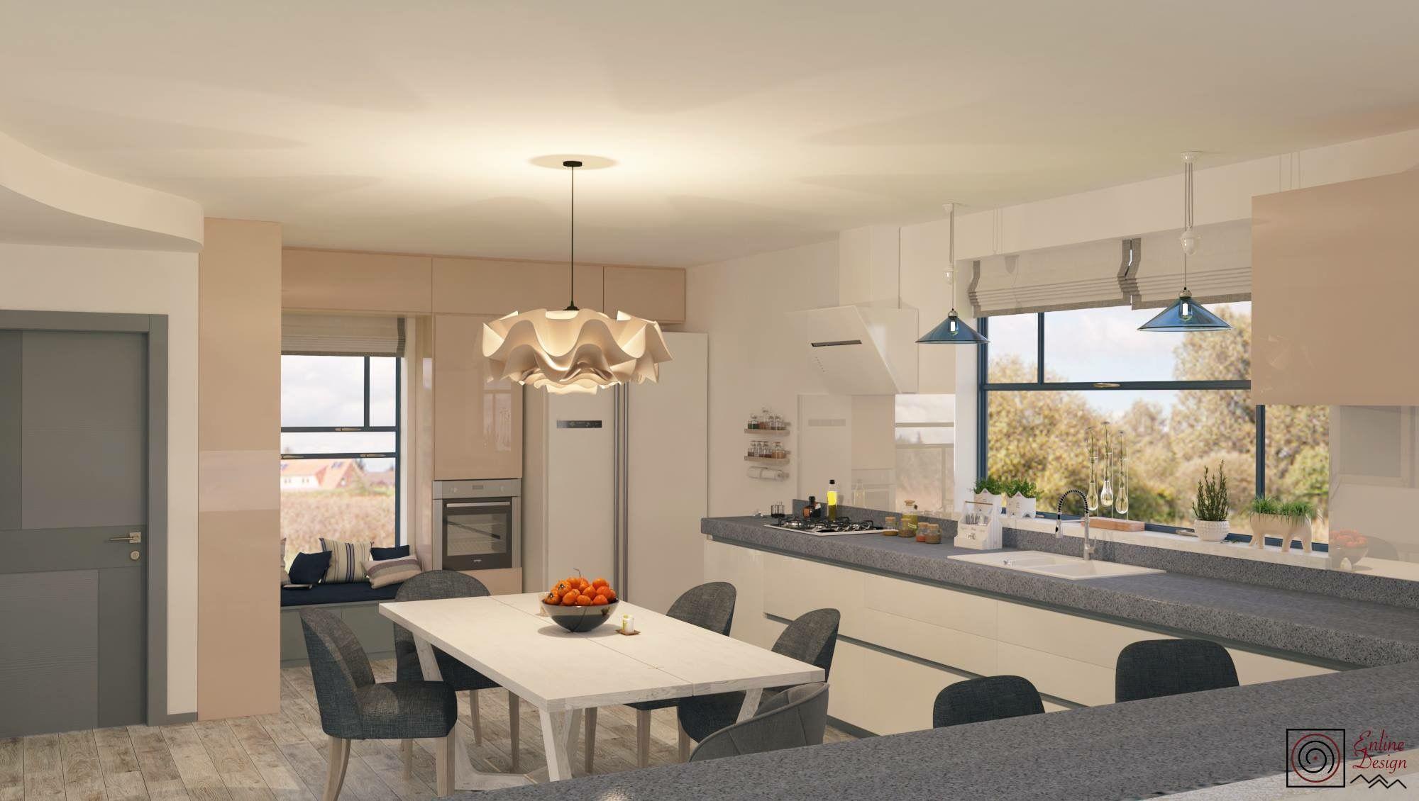 Peach kitchen. Modern sweet and comfortable kitchen design by ENLINE DESIGN.