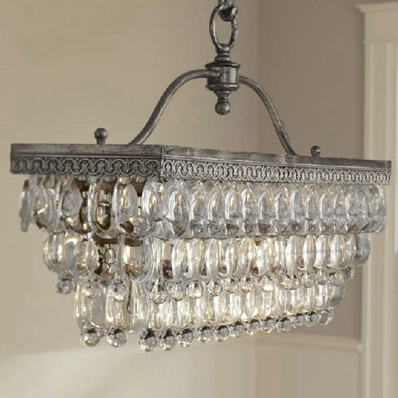 Antique Vintage Rectangle Crystal Pendant Light Ceiling Lamp ...
