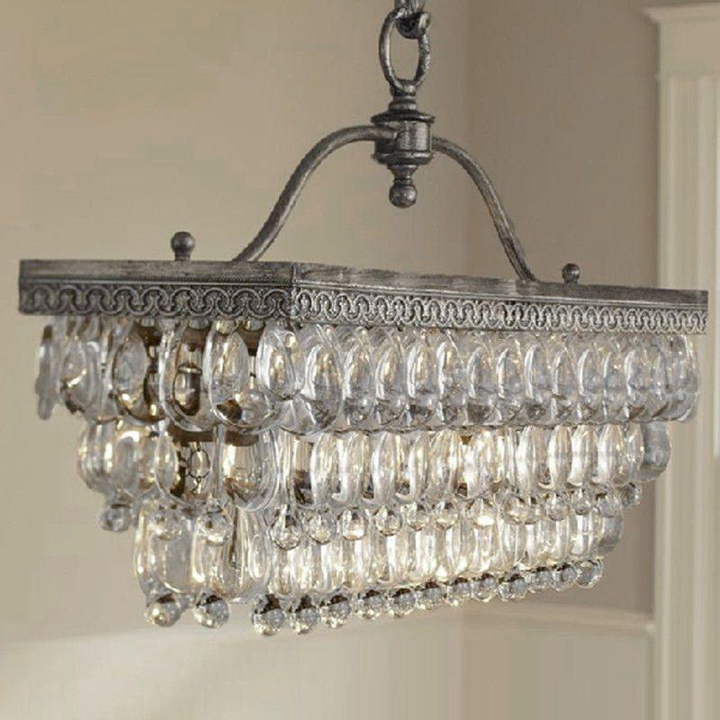 Antique Vintage Rectangle Crystal Pendant Light Ceiling Lamp Chandelier Lighting
