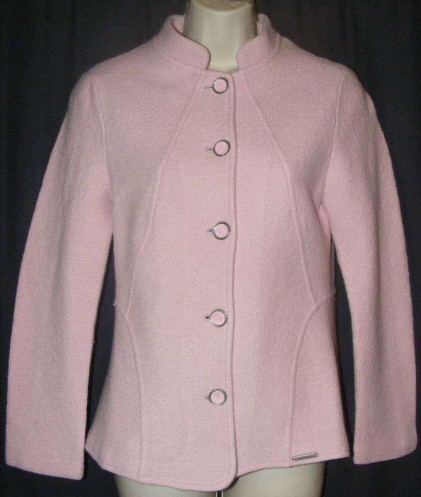 Geiger Pale Pink 100% Wool Made In Austria Cardigan Jacket Sweater 42 XS #GEIGER #BasicJacket