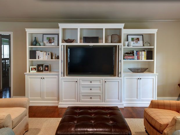 Attractive Built In White Entertainment Center | Entertainment Center These Owners  Outgrew Their Existing Built In And