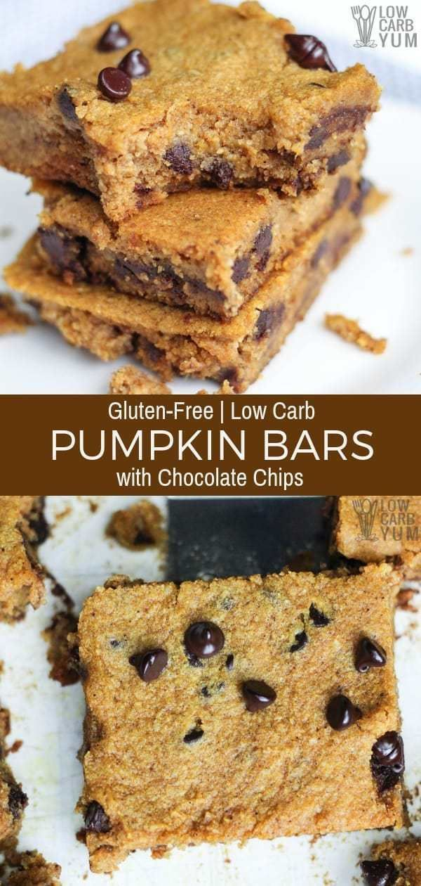 Easy to make low carb gluten freepumpkin bars with chocolate chips that have n - Keto Brownies - Id