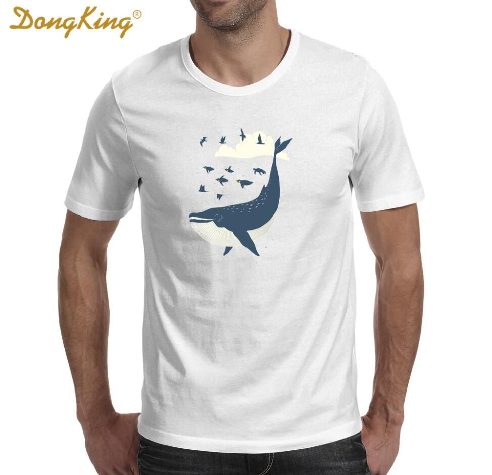 56b07ecf645 New Arrival Funny Design Flying in the sea Printed T-Shirt Men 0-neck