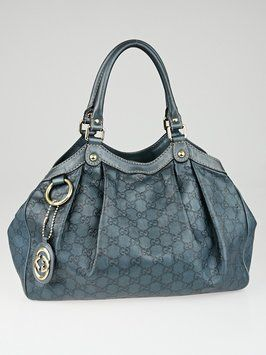 bf9cf443748 Get one of the hottest styles of the season! The Gucci Leather Medium Suke  Metallic Blue Tote Bag is a top 10 member favorite on Tradesy.