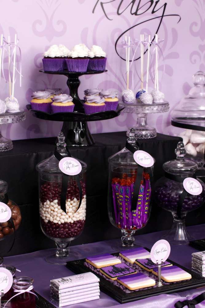 Purple Black Sophisticated Tween Birthday Party Ideas