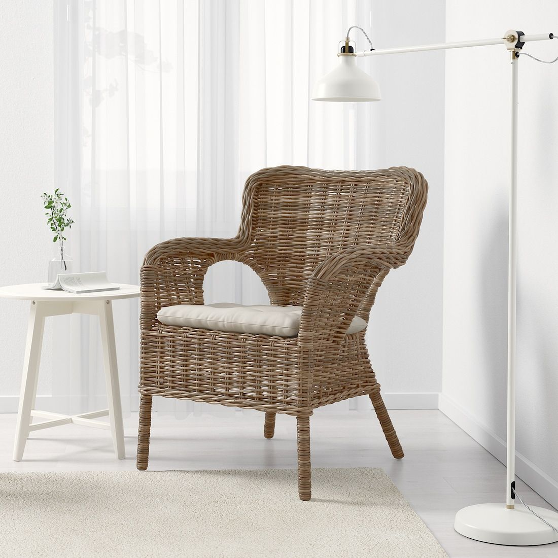 Byholma Armchair Gray Laila Natural Ikea In 2020 Patterned