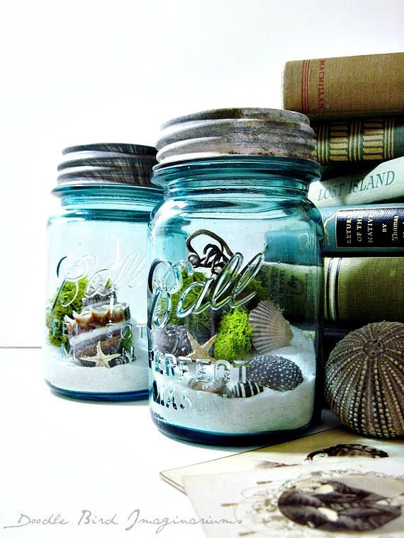 Upcycled Mason Jar Terrarium Antique Blue Ball Mason Jar Wedding