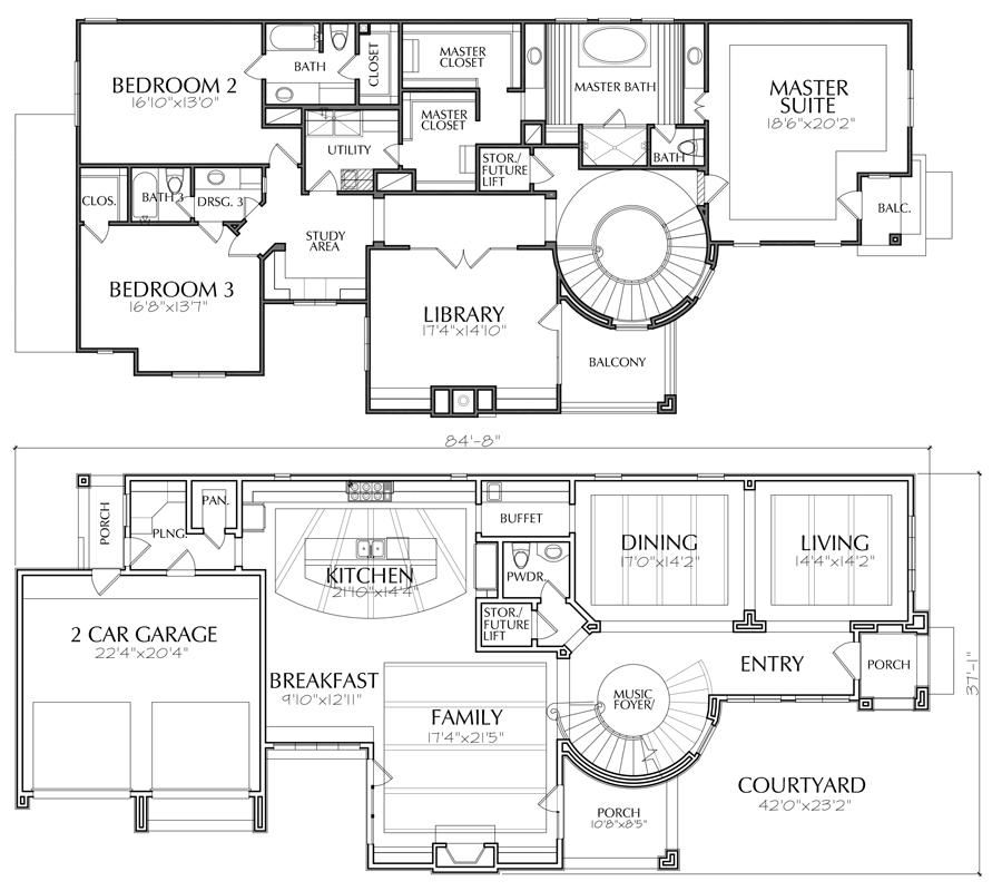 Two Story House Plan E3298 Two Story House Plans House Blueprints House Plan Creator