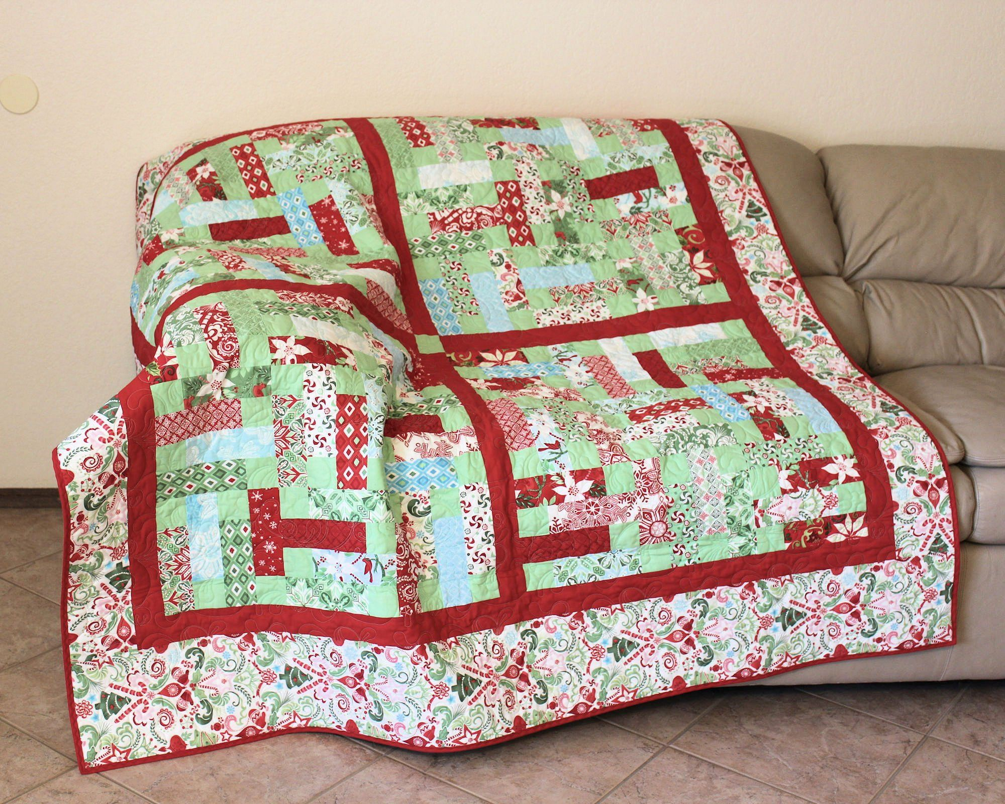 Sofa Quilting Fabric Christmas Lap Quilt Or Sofa Throw Kate Spain S Flurry Fabric