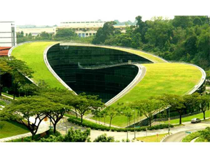 Green Roof On School Of Art, Design U0026 Media At Nanyang Technological  University, Singapore