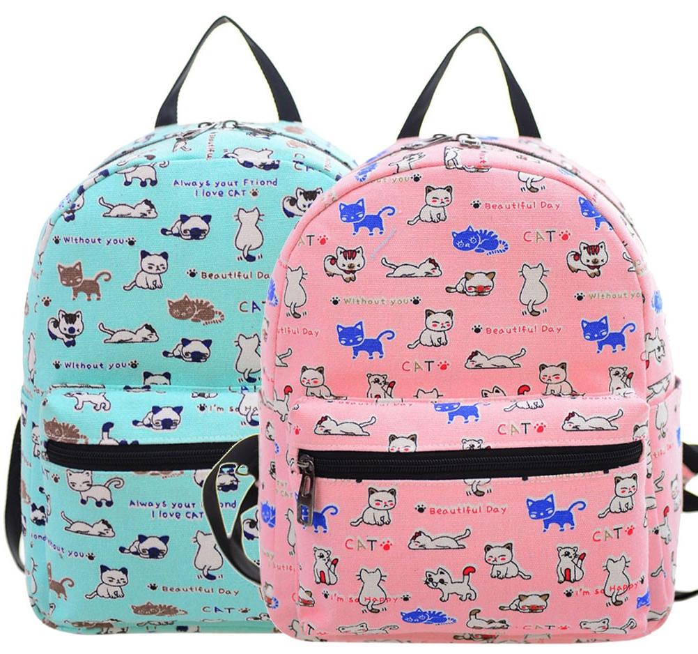 Small Backpack Cute Kitten Print ♥ www