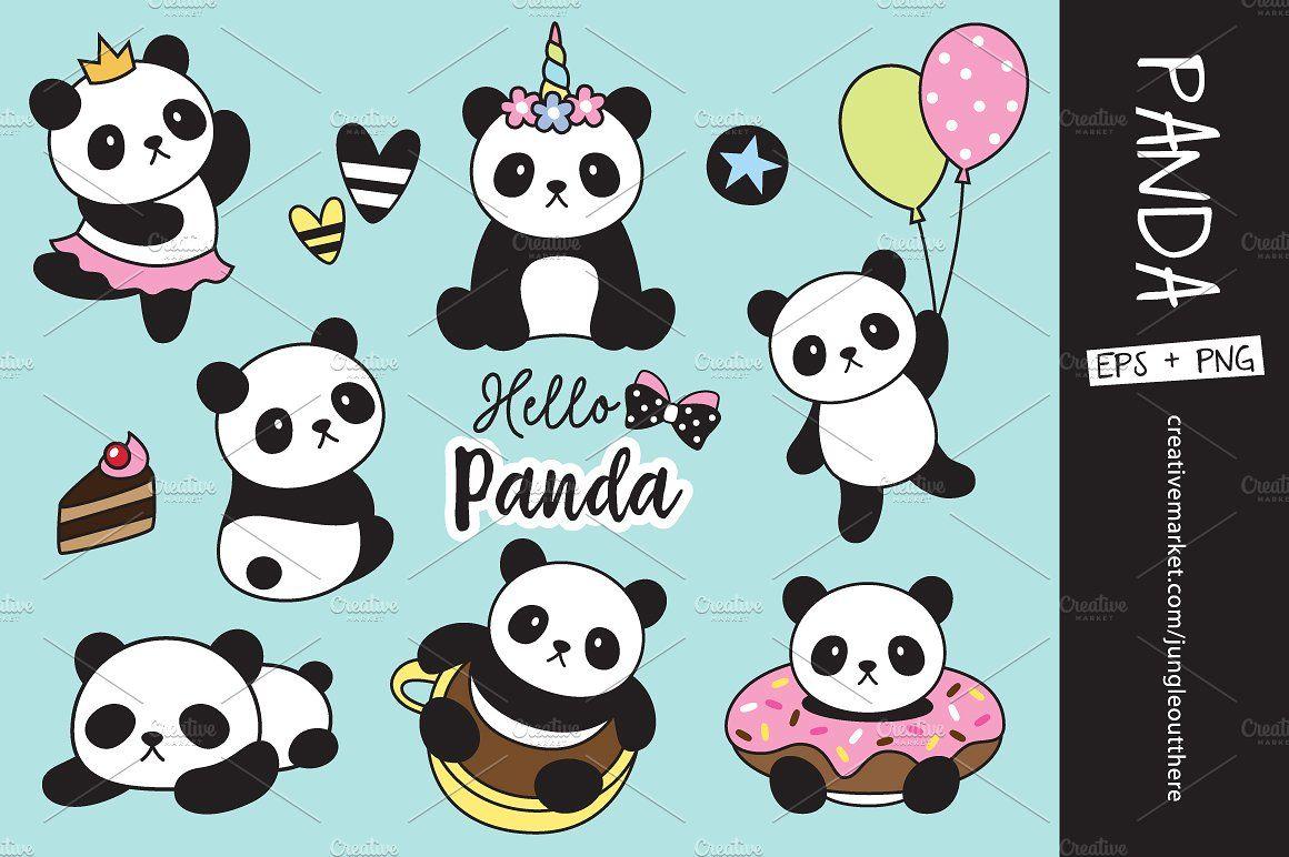 Panda Vector Png Clipart Panda Illustration Unicorns Vector Panda