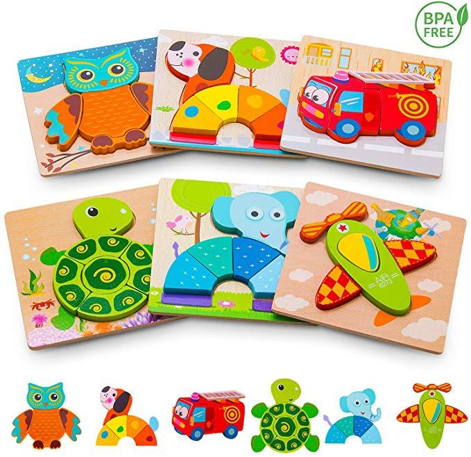 Amazon.com: Wooden Jigsaw Puzzles, Animals & Vehicle ...