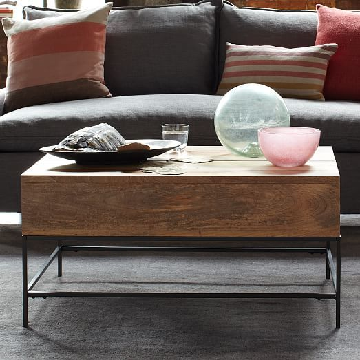 Rustic Storage Coffee Table West Elm Livingroom Pinterest - West elm lift up coffee table