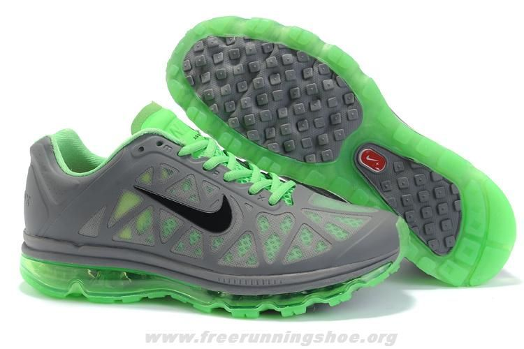 Wholesale Discount Mens Nike Air Max 2011 Cool Grey Black-Neo Lime Sneakers  The Most Flexible Running Shoes