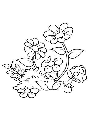 Ausmalbild Blumen Und Fliegenpilz Blumen Ausmalbilder Blumen Ausmalen Blumenzeichnung
