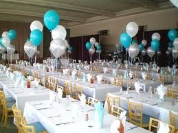 tiffany blue silver and white balloons may use for cake table rh pinterest com