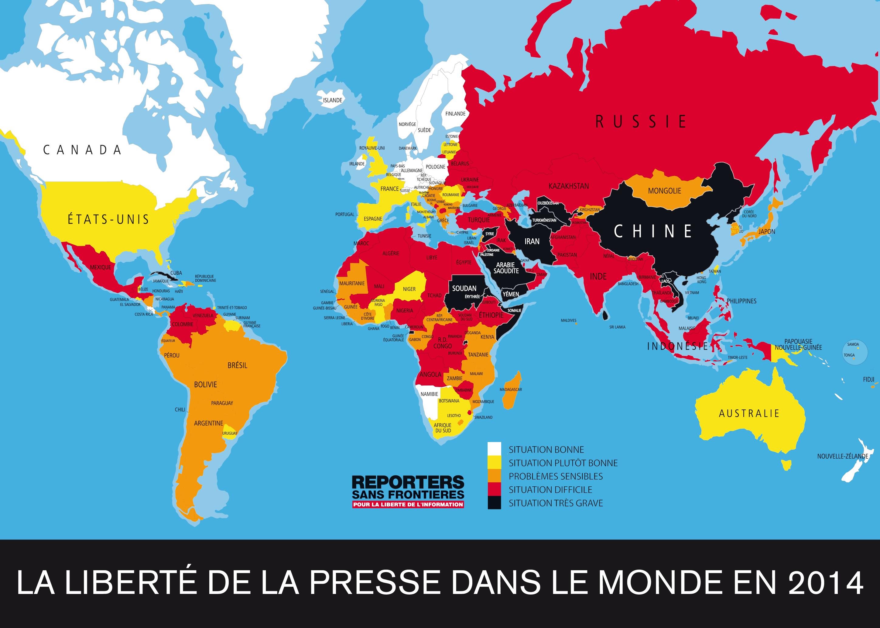 La libert de la presse dans le monde en 2014