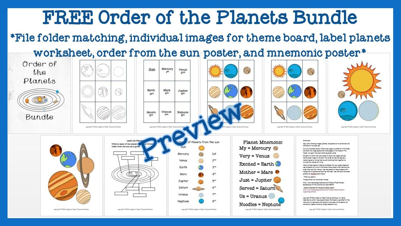 Free Order Of The Planets Bundle Revised From Previous Product Planet Order Planets Planet Colors