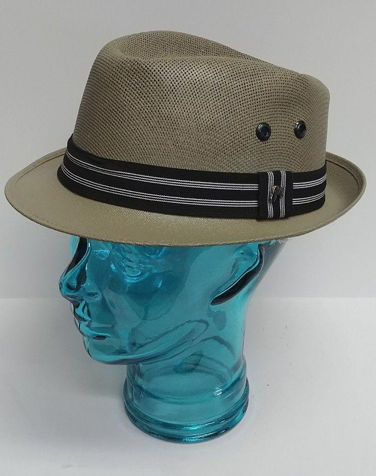 4a91f7615e436b Gonzalez SGV Straw Panama Striped Men's Fedora Hat, Made in Mexico Sz 7 3/4  #Gonzalez #Fedora
