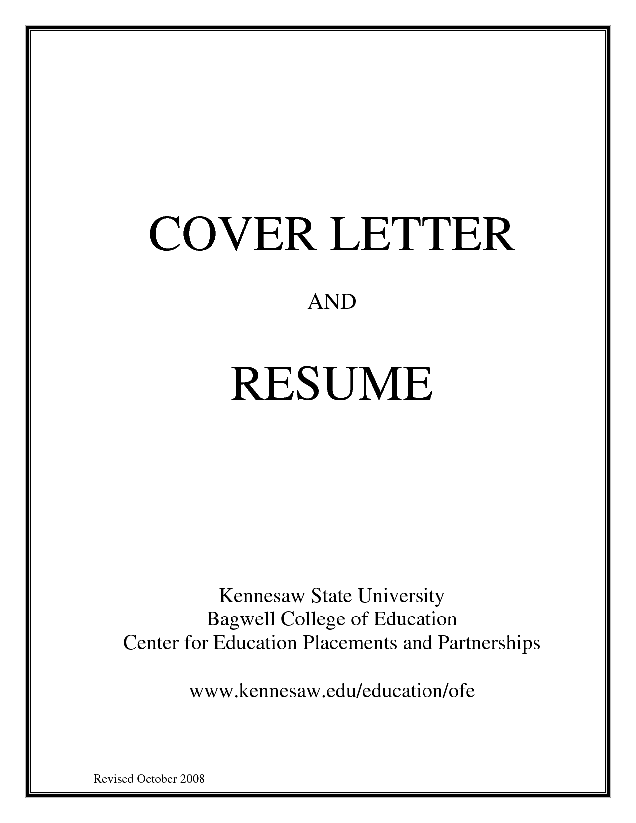 resume title page example - Cover Letters With Resume