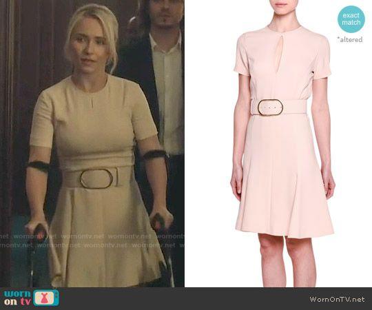 Juliette's blush pink short sleeve belted dress on Nashville.  Outfit Details: https://wornontv.net/65292/ #Nashville