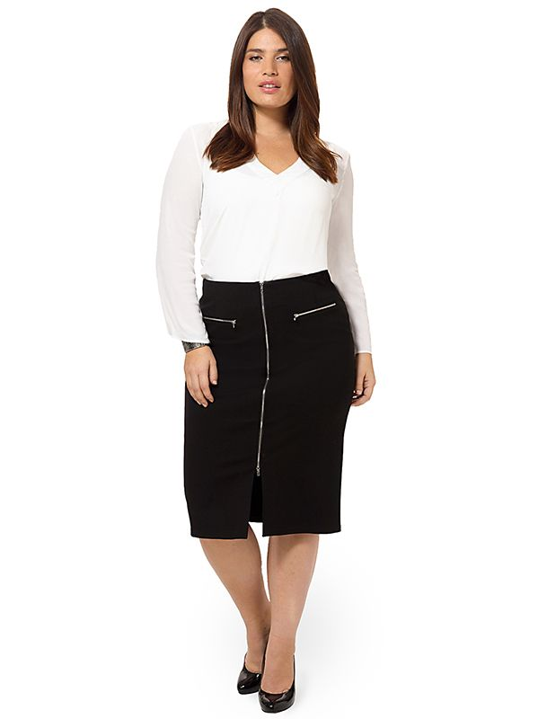 Zipper High Waist Skirt by @mynt1792, Available in sizes 12W-26W