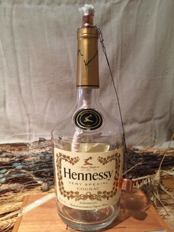 Decorated Hennessy Bottle Hennessy Cognac Bottle Tabletop Tiki Torchibottlecrafts  Cool