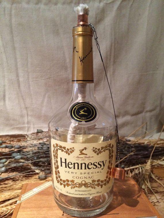 Decorated Hennessy Bottle Hennessy Cognac Bottle Tabletop Tiki Torchibottlecrafts  Cool