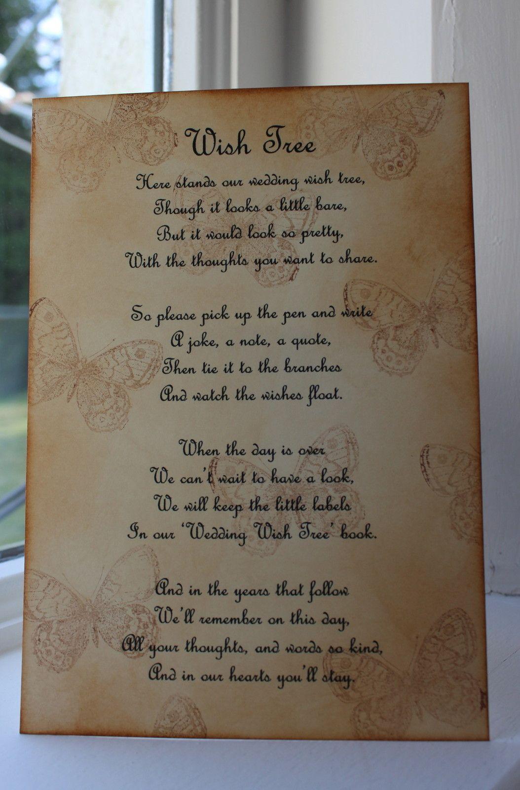 Butterfly Wedding Wish Tree Poem Vintage Style Beautiful Design