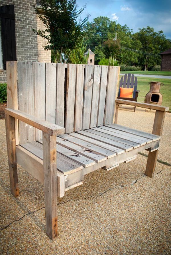 DIY Pallet Wood Bench | 101 Pallets | Pallet projects | Pinterest ...