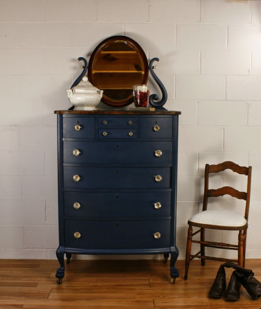 Exceptional Roots And Wings Furniture Blog: No. 105 Antique Navy Blue Chest Of Drawers.