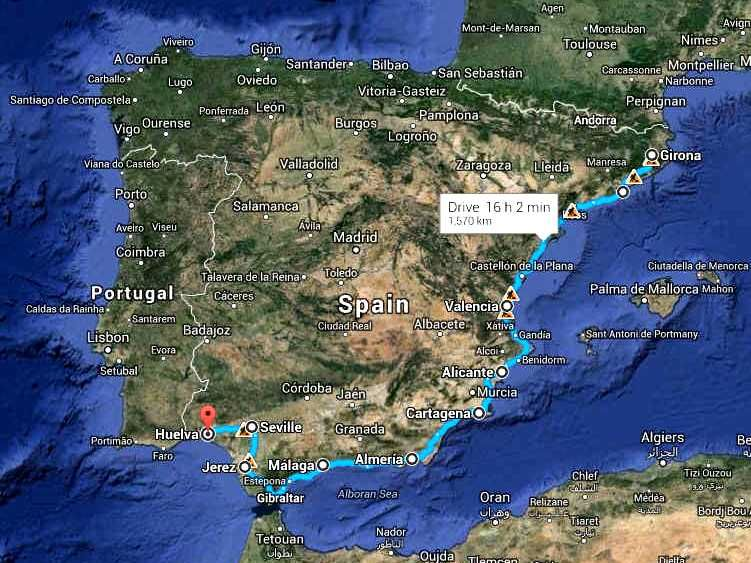 Map Of Coastal Spain.Map Of Spain Showing The Coastal Cannonball Run Route Spanish