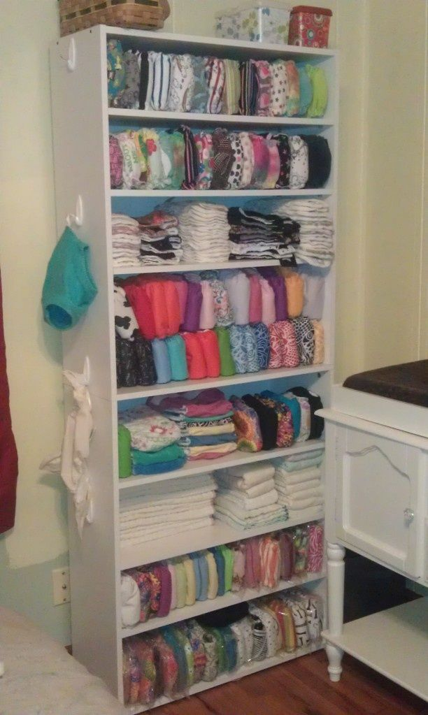 Awesome cloth diaper storage including hooks on the sides of the shelves for wool & Awesome cloth diaper storage including hooks on the sides of the ...