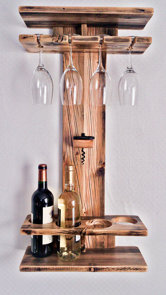 Rustic Wood Wine Rack Wine Shelf Wine Bottle Holder Stemware