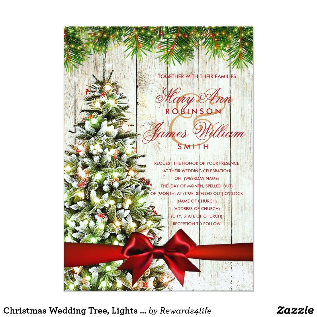 A Wedding For Christmas 2021 Christmas Wedding Tree Lights Red Ribbon Invitation Zazzle Com In 2021 Christmas Wedding Invitations Christmas Wedding Flowers Christmas Wedding Centerpieces