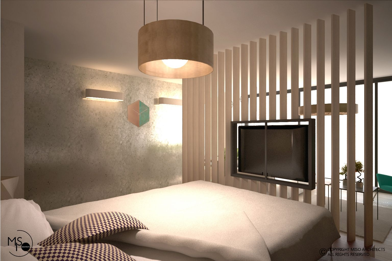 Accent wall metalic texture room divider vernescu residence
