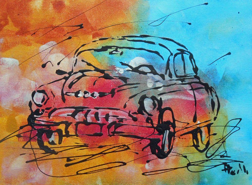 Tableau vieille voiture de course vintage tableau contemporain peinture acrylique - Dessin vieille voiture ...