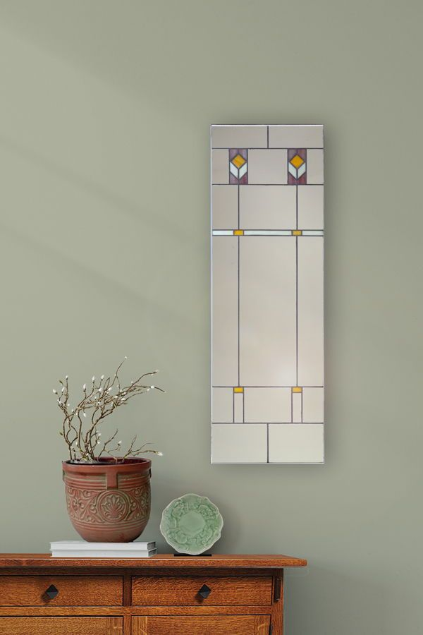 Add extra sparkle to your home with bathroom mirrors inspired by Frank Lloyd Wright's stained glass windows. This decorative mirror also gives the illusion of depth, making your room feel larger. See it here. #homedecoration #craftsman #bathroomideas #bathroomdecor #craftsmanhome #craftsmanstyle