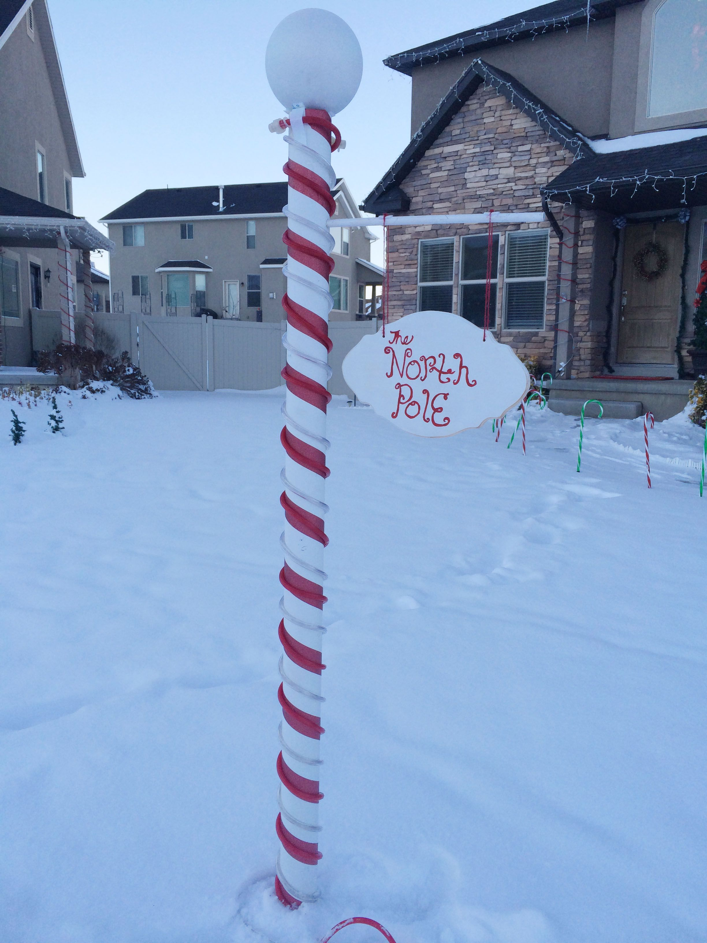 North Pole Sign! Christmas yard decorations, Outside