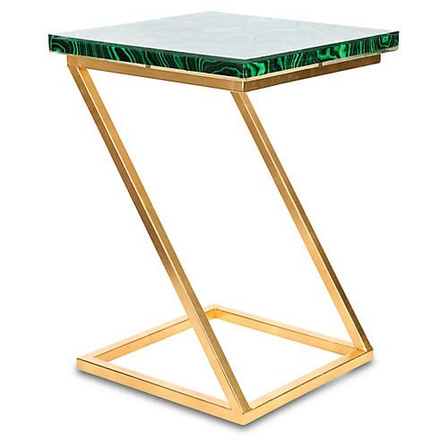Geo Side Table, Emerald/Gold