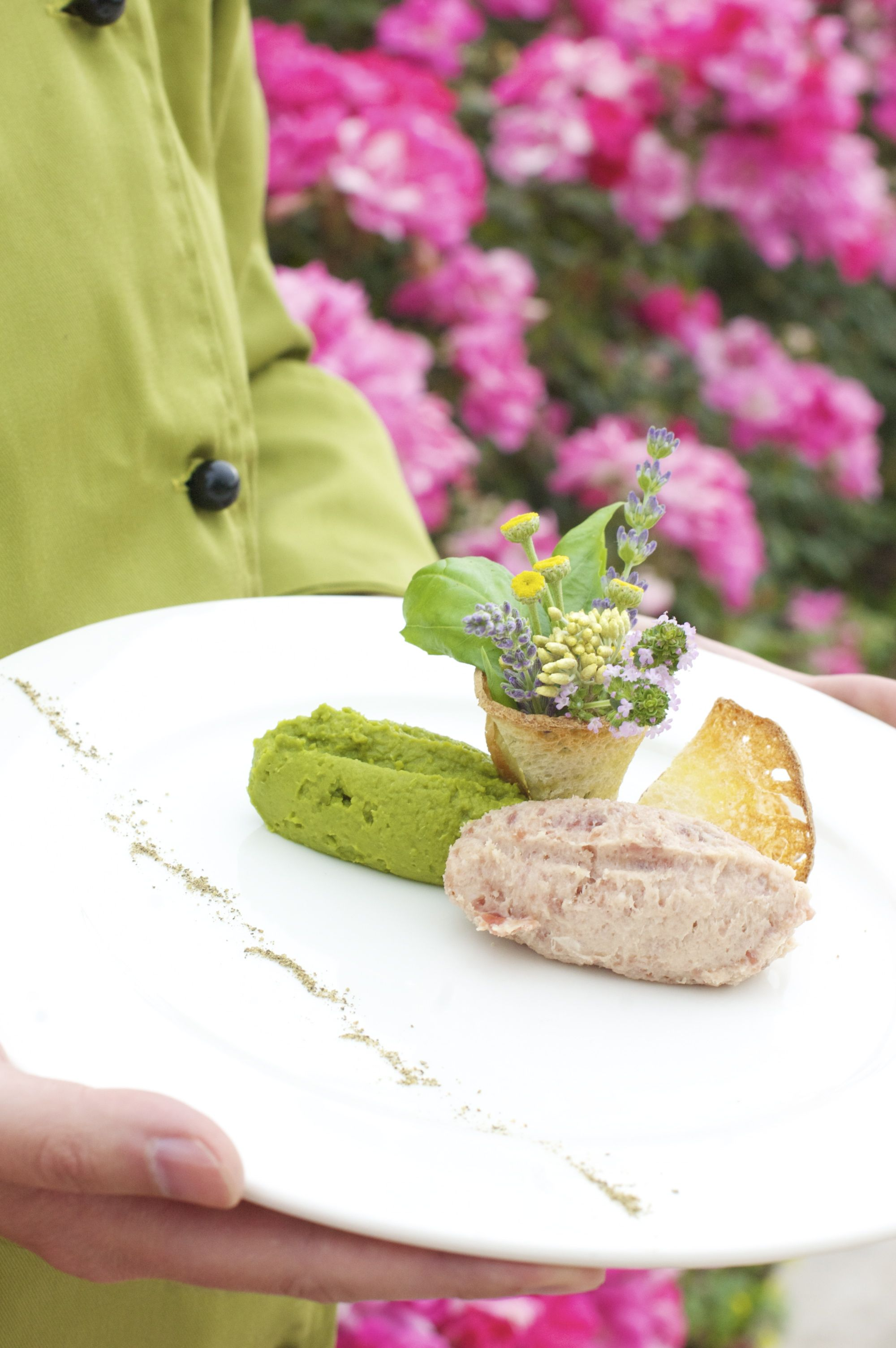 A nice luncheon ham spread which is served with mashed peas. Delicious!
