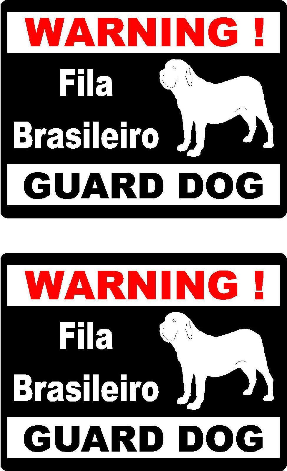 6 99 2 warning fila brasileiro guard dog car bumper home window vinyl decals stickers ebay collectibles